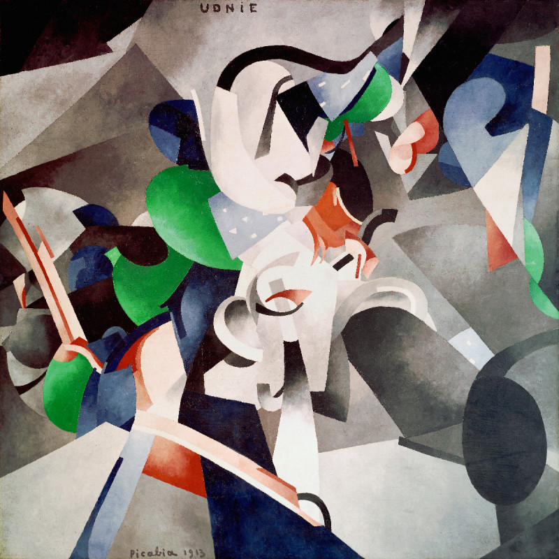 "Francis Picabia, Udnie (Jeune fille américaine; danse) (Udnie [Young American Girl; Dance]), 1913, oil on canvas, 9' 6¼"" × 9' 10⅛"". PHOTO: ©CENTRE POMPIDOU, MNAM-CCI/GEORGES MEGUERDTCHIAN/DIST. RMN–GRAND PALAIS/ART RESOURCE, NEW YORK; ART: ©2016 ARTIST RIGHTS SOCIETY (ARS), NEW YORK AND ADAGP, PARIS/CENTRE POMPIDOU, MUSÉE NATIONAL D'ART MODERNE – CENTRE DE CRÉATION INDUSTRIELLE, PARIS, PURCHASED BY THE STATE, 1948"