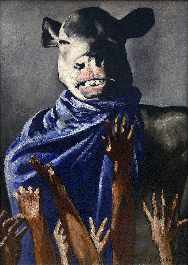 "Francis Picabia, L'Adoration du veau (The Adoration of the Calf), 1941–42, oil on board, 41¾"" × 30"". PHOTO: ©CENTRE POMPIDOU, MNAM-CCI/PHILIPPE MIGEAT/DIST. RMN–GRAND PALAIS/ART RESOURCE, NEW YORK; ART: ©2016 ARTIST RIGHTS SOCIETY (ARS), NEW YORK AND ADAGP, PARIS/CENTRE POMPIDOU, MUSÉE NATIONAL D'ART MODERNE – CENTRE DE CRÉATION INDUSTRIELLE, PARIS"