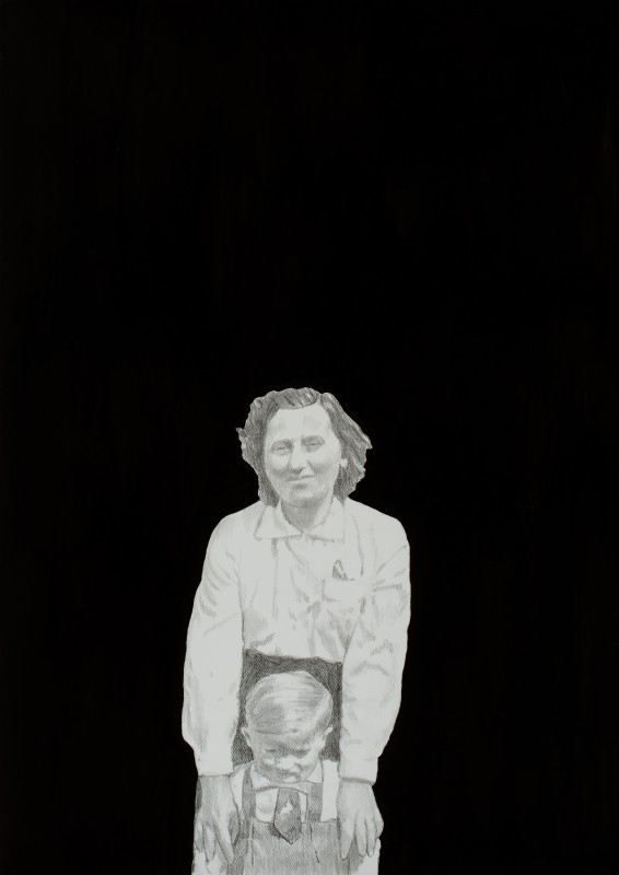 László Fehér (Hungarian, b. 1953): Julianna and Jancsi (Mother and her Son), 2014. Pencil and ink on paper, 105 x 75 cm. © László Fehér.