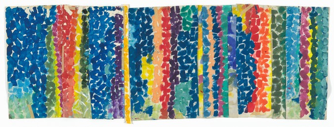 "Alma Woodsey Thomas's ""Untitled"" (c. 1968) made of polymer paint and pressure-sensitive tape on cut-and-stapled paper."
