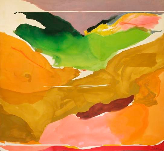 "Helen Frankenthaler (American; Abstract Expressionism, Lyrical Abstraction; 1928 –2011): Nature Abhors a Vacuum, 1973. Acrylic on canvas, 103-1/2 x 112-1/2 inches  (262.9 x 285.8 cm). National Gallery of Art, Washington, D.C., USA. Image: Helen Frankenthaler Foundation. © Helen Frankenthaler Foundation, Inc.  ""My pictures are full of climates, abstract climates. They're not nature per se, but a feeling."" (Helen Frankenthaler)"