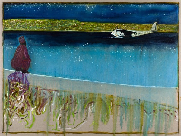 Billy Childish (British, b. 1959): Sea of galilee, night; 2012. Oil and charcoal on linen, 183 x 244 cm. Courtesy the artist and Galerie Neugerriemschneider, Berlin, Germany. Photo: Jens Ziehe, Berlin.