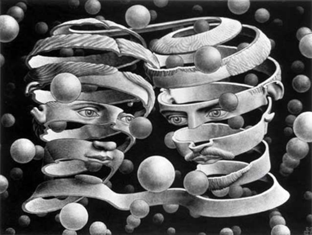 M.C. Escher (Dutch, 1898-1972): Bond of Union, 1956. Lithograph, 25.3 x 33.9 cm (10 x 13-3/8 inches). © This artwork may be protected by copyright. It is posted on the site in accordance with fair use principles.