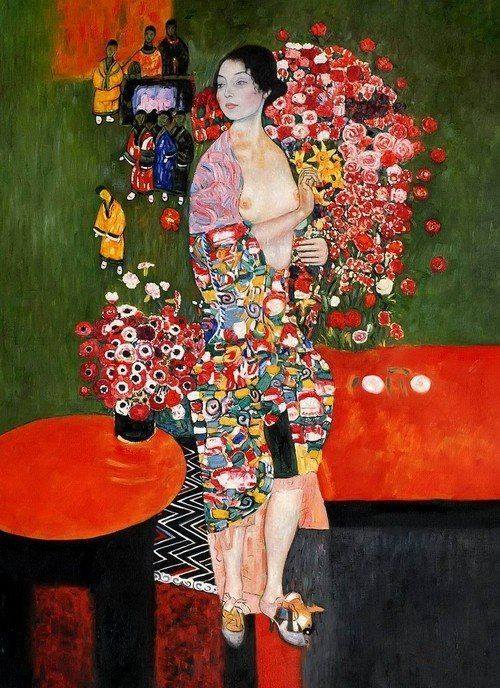 Gustav Klimt (Austrian; Art Nouveau, Vienna Secession, 1862-1918): The Dancer (formerly Ria Munk II), c. 1916-1918. Oil on canvas, 180 x 90 cm. Private Collection, New York. © This artwork may be protected by copyright. It is posted on the site in accordance with fair use principles.