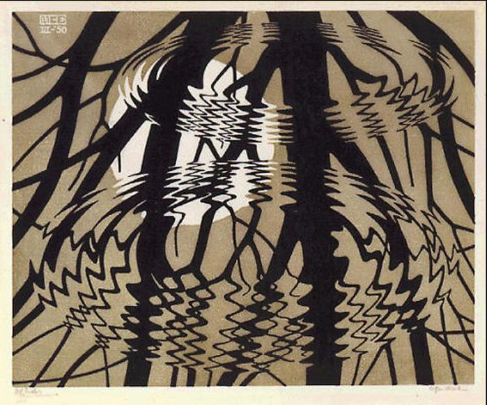 M.C. Escher (Dutch, 1898-1972): Rippled Surface, March 1950. Linocut in black and grey-brown on Japan paper, 33.6 x 40.1 cm; image: 26 x 32 cm. National Gallery of Canada, Ottawa, Ontario, Canada. © Cordon Art B.V. - Baarn - Netherlands. Image: © 2013 The National Gallery of Canada. © This artwork may be protected by copyright. It is posted on the site in accordance with fair use principles.