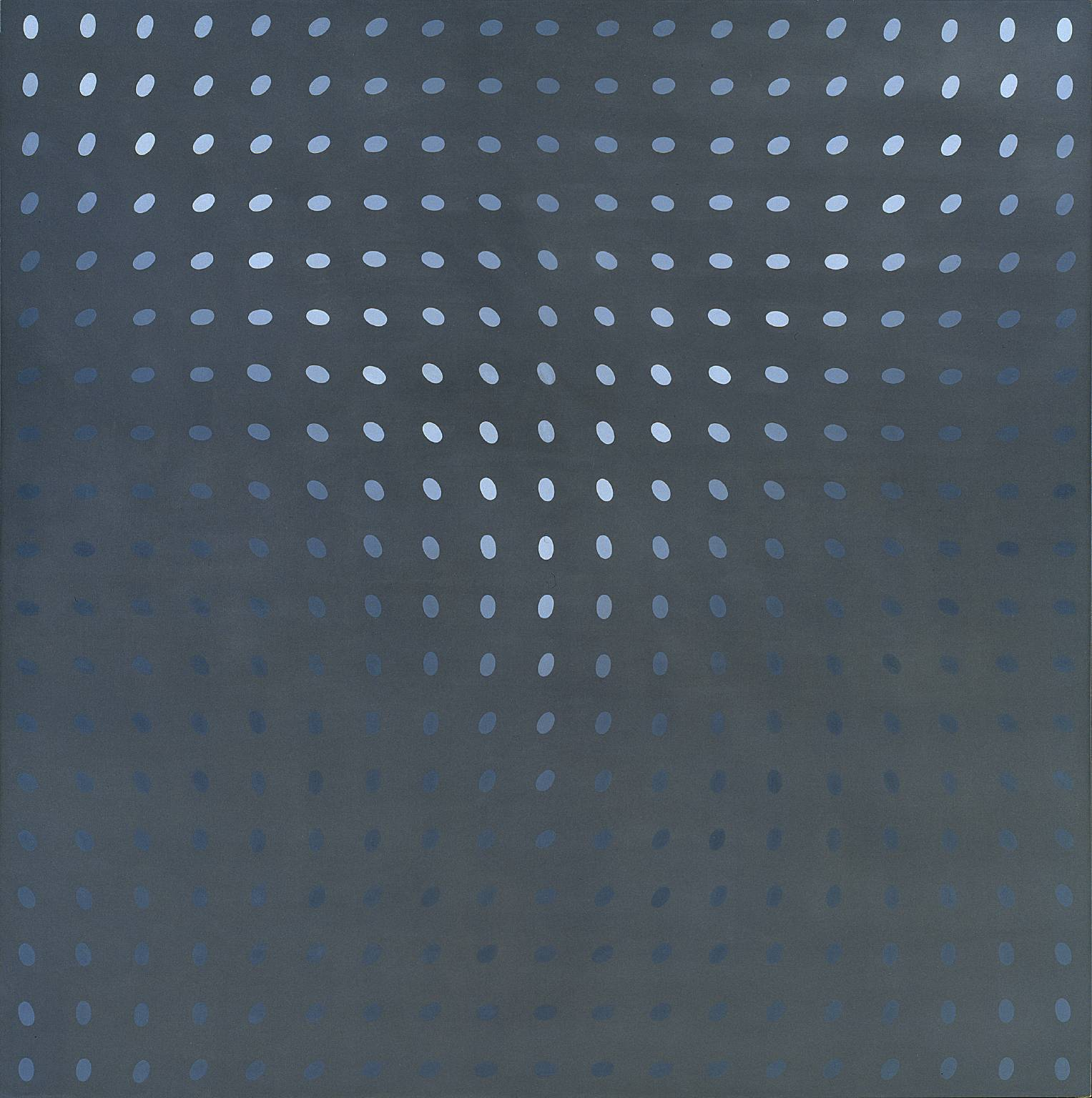 Bridget Riley (British, Op Art, b. 1931): Deny II, 1967. Polyvinyl acetate emulsion paint on canvas, 217.2 x 217.2 x 40 cm. Tate Modern, London, UK. © Bridget Riley. © This artwork may be protected by copyright. It is posted on the site in accordance with fair use principles.