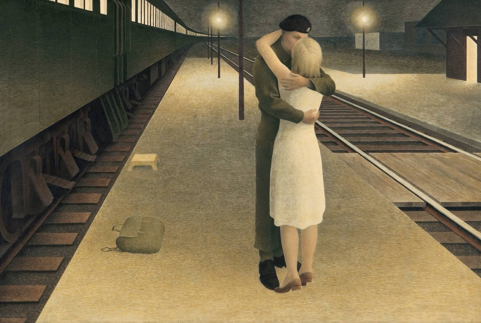 Alex Colville (Canadian; Realism, Magic Realism; 1920 - 2013): Soldier and Girl at Station, 1953. Glazed tempera on hardboard, 40.6 x 60.9 cm. The Thomson Collection, Art Gallery of Ontario, Toronto, Ontario, Canada. © This artwork may be protected by copyright. It is posted on the site in accordance with fair use principles.