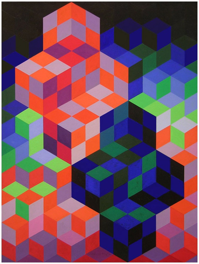 Victor Vasarely (Hungarian/French, Op Art, 1906-1997): Duo-2, 1967. Medium: Gouache, acrylic on board, 12-1/4 x 16 inches (31 x 40.6 cm). Private Collection. © This artwork may be protected by copyright. It is posted on the site in accordance with fair use principles.