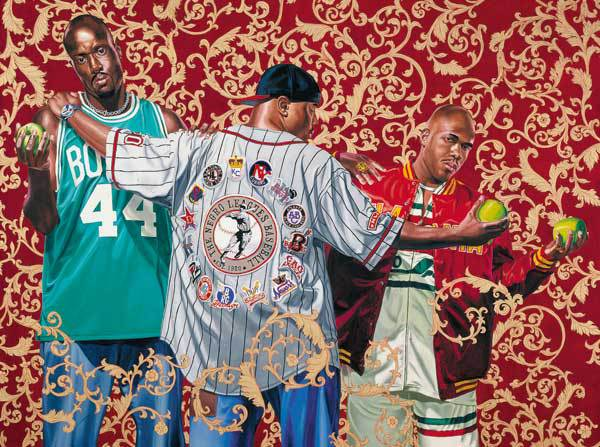 Kehinde Wiley (American, b. 1977): Three Graces, 2005. Oil and enamel on canvas, 182.9 x 423.8 cm (72 x 96 inches). Hort Family Collection, courtesy Roberts & Tilton, Los Angeles, California, USA. © Kehinde Wiley. © This artwork may be protected by copyright. It is posted on the site in accordance with fair use principles.