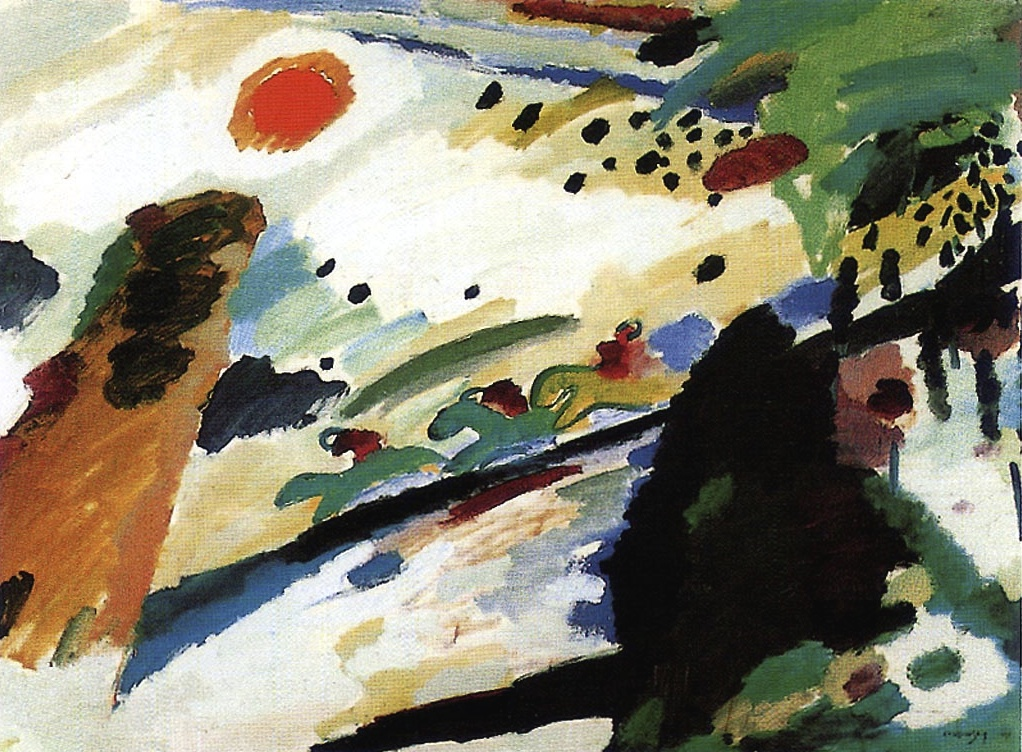 "Wassily Kandinsky (Russian, 1866-1944): Romantic landscape, 1911. Oil on canvas, 94.3 x 129 cm. Städtische Galerie im Lenbachhaus, Munich, Germany. ""The true work of art is born from the Artist: a mysterious, enigmatic, and mystical creation. It detaches itself from him, it acquires an autonomous life, becomes a personality, an independent subject, animated with a spiritual breath, the living subject of a real existence of being."" (Wassily Kandinsky)"