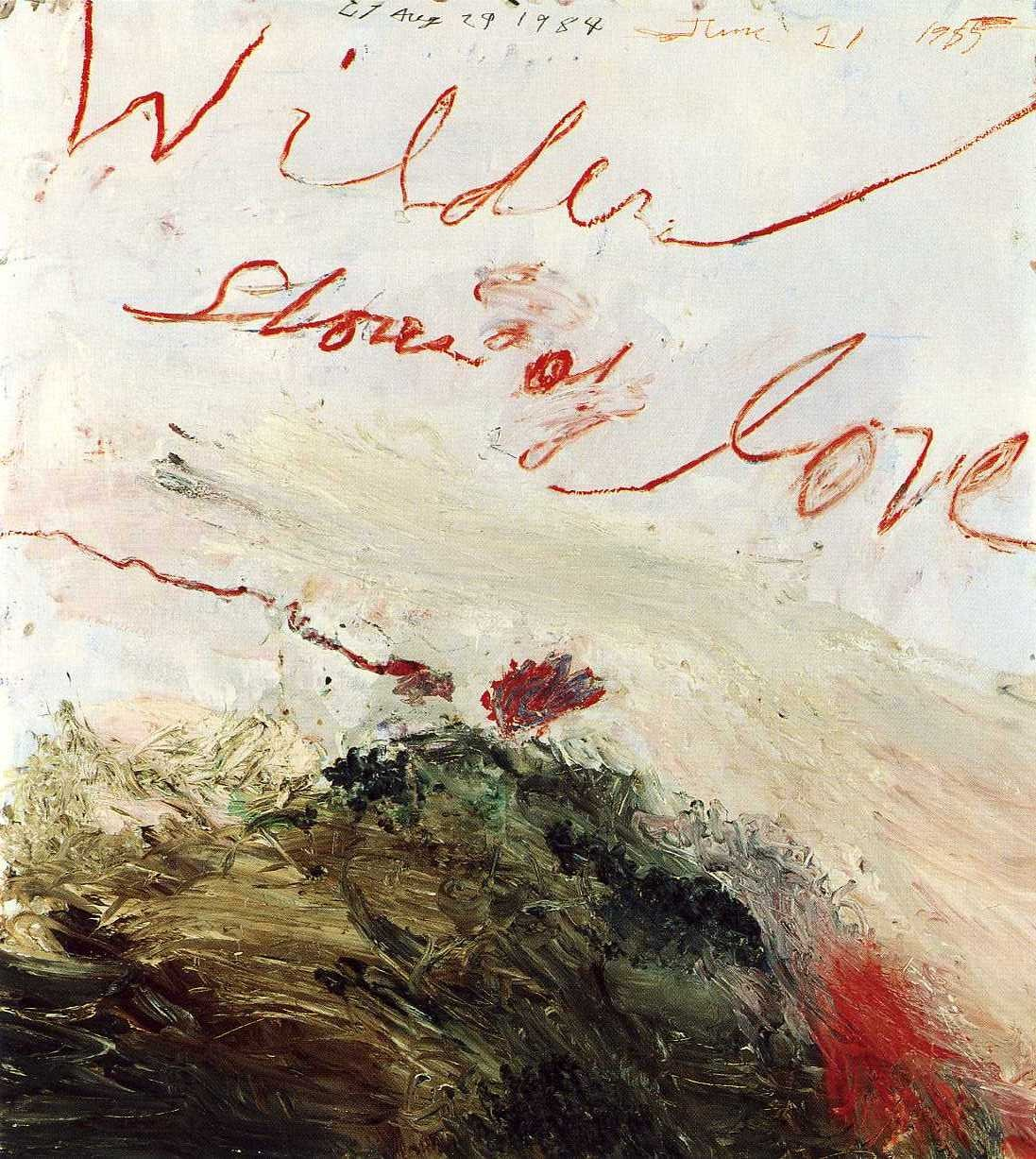 Cy Twombly (American, Contemporary, 1928–2011): Wilder Shores of Love, Bassano in Teverina, 1985, Oil based house paint, oil crayon, coloured pencil, lead pencil on wooden panel, 55-1/8 x 47-1/4 inches (140 x 120 cm), Private Collection. © Cy Twombly, Walther Dräyer, Zürich. © This artwork may be protected by copyright. It is posted on the site in accordance with fair use principles.
