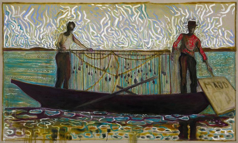 Billy Childish (British, b. 1959): clamming on maud (Version X), 2013. Oil and charcoal on linen, 183 x 305 cm. Courtesy the artist and Carl Freedman Gallery, London, UK.