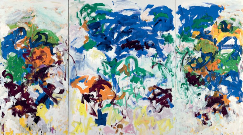 Joan Mitchell (American, 1926-1992): Bracket, 1989. Oil on canvas (triptych), 102-1/2 x 181-3/4 inches (260.35 x 461.35 cm). The Doris and Donald Fisher Collection at the San Francisco Museum of Modern Art. © Estate of Joan Mitchell. Photo: Ian Reeves.