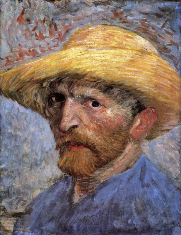 Vincent van Gogh (Dutch, Post-Impressionism, 1853-1890): Self-Portrait with Straw Hat, Summer 1887. Oil on artist board, mounted to wood panel; 34.9 × 26.7 cm (13-3/4 x 10-1/2 inches). Detroit Institute of Arts, Michigan, USA.