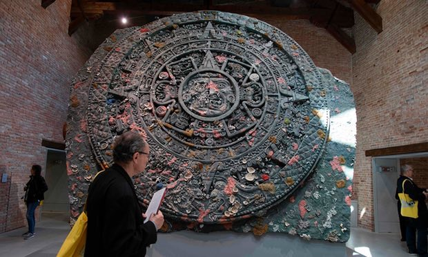 Calendar Stone by Damien Hirst. Photograph: Miguel Medina/AFP/Getty Images