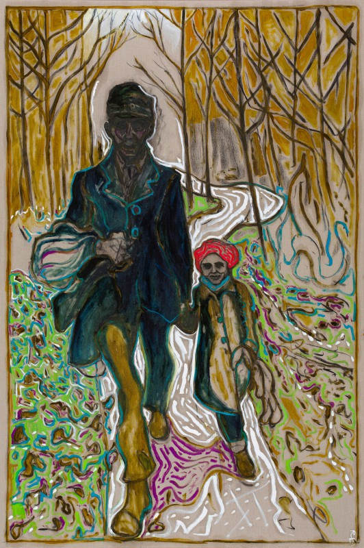 Billy Childish (British, b. 1959): walking in gods butie, 2013. Oil and charcoal on linen, 108.07 x 72.05 inches (274.5 x 183 cm). Courtesy the artist and Lehmann Maupin, New York and Hong Kong.