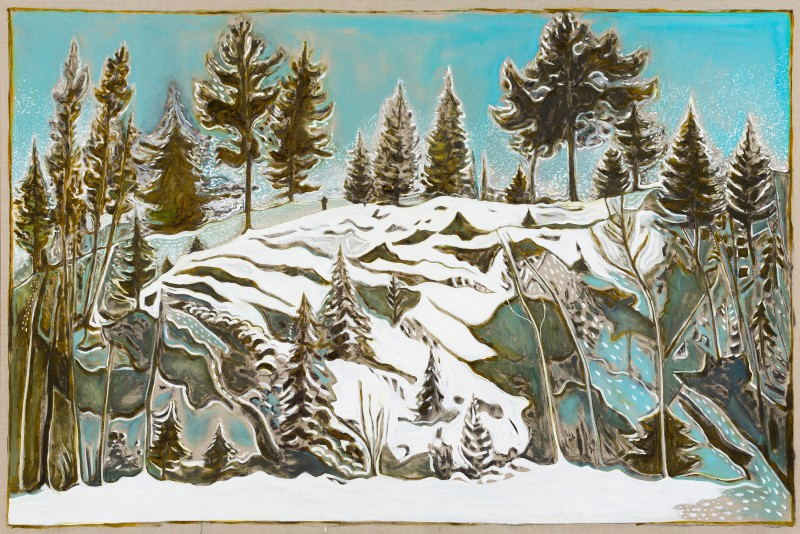 Billy Childish (British, b. 1959): man howling to wolves, 2015. Oil and charcoal on linen, 72.05 x 108.07 inches (183 x 274.5 cm). Courtesy the artist and Lehmann Maupin, New York and Hong Kong.