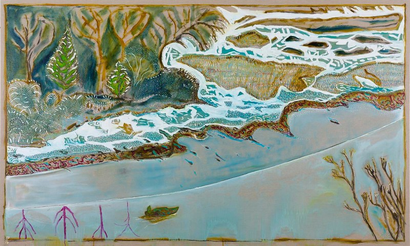 Billy Childish (British, b. 1959): Man in a Small Boat, Winter; 2013. Oil and charcoal on linen, 40.55 x 120.08 inches (103 x 305 cm). Courtesy the artist and Lehmann Maupin, New York and Hong Kong.