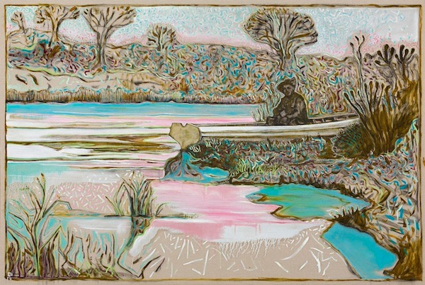 Billy Childish (British, b. 1959): River Garden, Kroonstad 1901 (version); 2014. Oil and charcoal on linen, 183 x 274.5 cm. Courtesy the artist and Carl Freedman Gallery, London, UK.