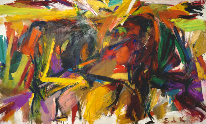 Elaine de Kooning (American, Abstract Expressionist, 1918–1989): Bullfight, 1959. Oil on canvas; 77-5/8 x 131-1/4 x 1-1/8 inches. Denver Art Museum, Denver, Colorado, USA. © Elaine de Kooning Trust.