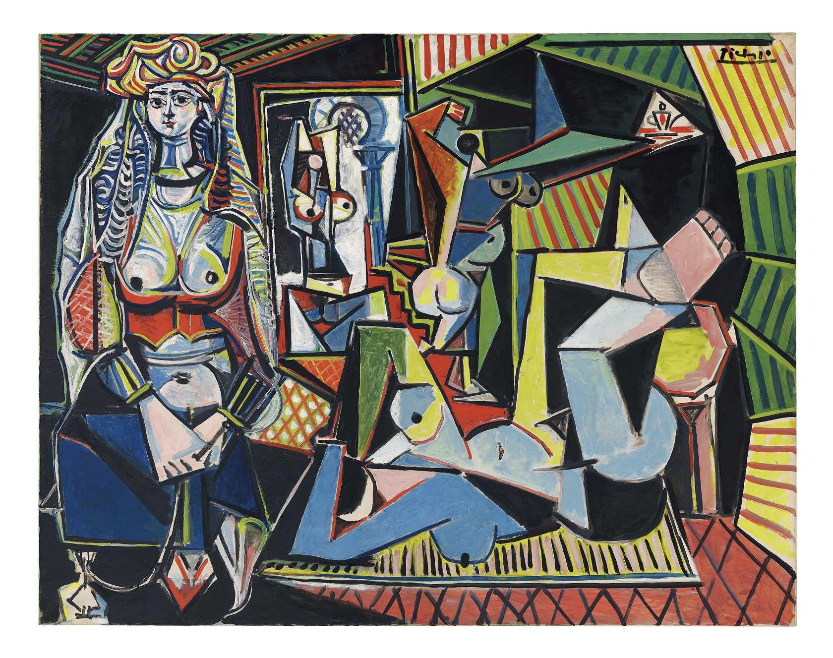 "Pablo Picasso (Spanish, 1881-1973): Les femmes d'Alger (Version ""O""), 1955. Oil on canvas, 114 x 146.4 cm. Private Collection. © Succession Picasso/DACS, London 2015. © This artwork may be protected by copyright. It is posted on the site in accordance with fair use principles."