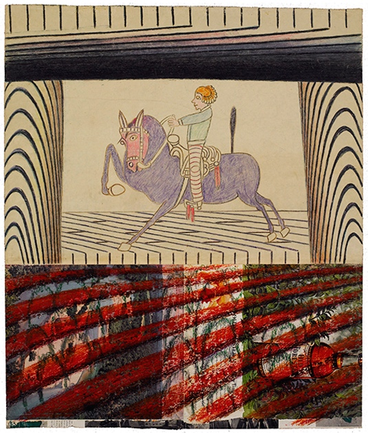 Martín Ramírez (Mexican-American, Outsider Art, 1895–1963): Untitled (Female Rider on Purple Horse), c. 1952-1955. Collage, gouache, colored pencil and graphite on pieced paper; 23-3/4 x 28-1/4 inches. © Ricco Maresca Gallery. © This artwork may be protected by copyright. It is posted on the site in accordance with fair use principles.