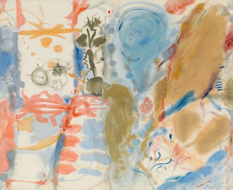 Helen Frankenthaler (American; Abstract Expressionism, Lyrical Abstraction; 1928 –2011): Western Dream, 1957. Oil on canvas, 70 x 86 inches  (177.8 x 218.4 cm). Gagosian Gallery, New York, NY, USA. © Estate of Helen Frankenthaler/Artists Rights Society (ARS), New York.