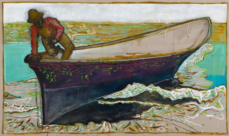 Billy Childish (British, b. 1959): umiak Alaska, 2013. Oil and charcoal on linen, 72 × 108-1/10 inches (183 × 274.5 cm). Courtesy the artist and Carl Freedman Gallery, London, UK.