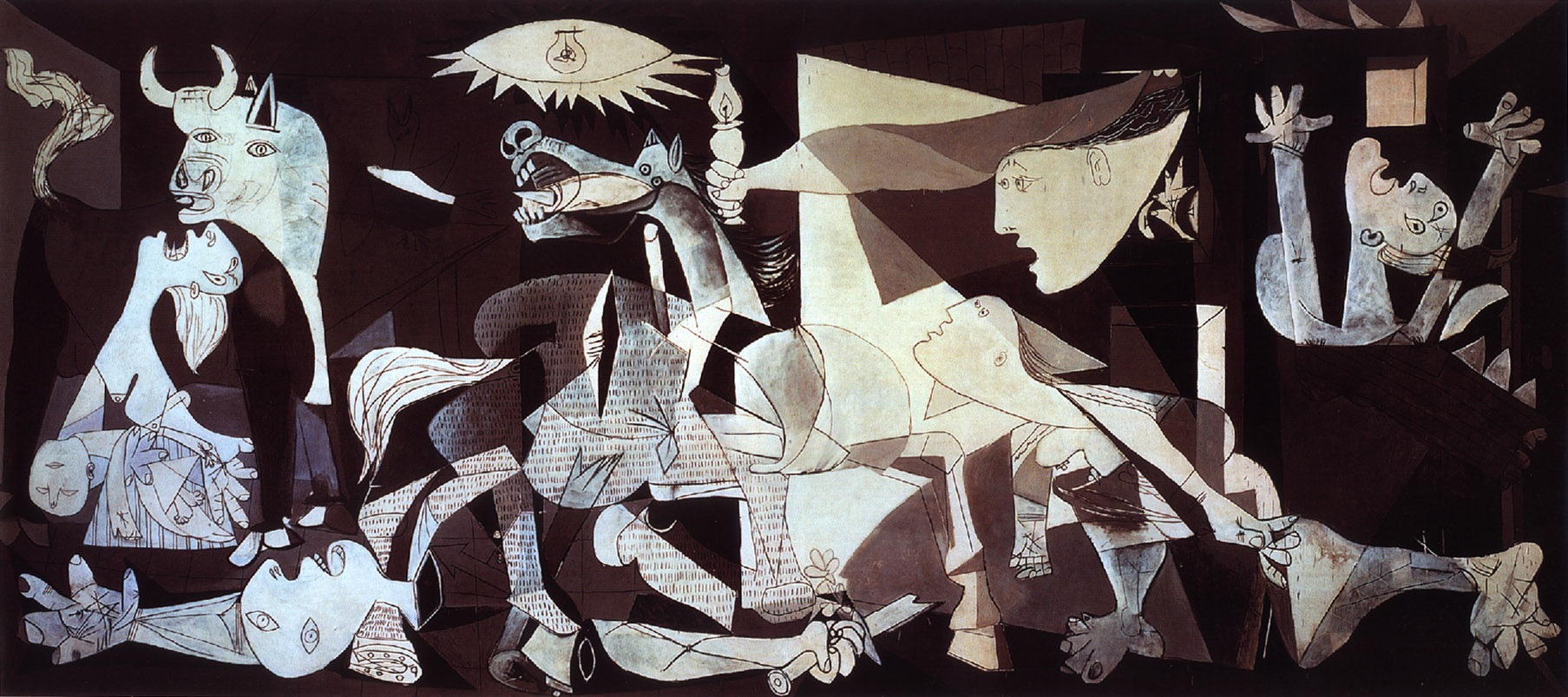 Pablo Picasso (Spanish, Cubism, 1881–1973): Guernica, 1937. Oil on canvas, 349 x 776 cm (137.4 × 305.5 inches), Museo Reina Sofia, Madrid. © Estate of Pablo Picasso / Artists Rights Society (ARS), New York © This artwork may be protected by copyright. It is posted on the site in accordance with fair use principles.