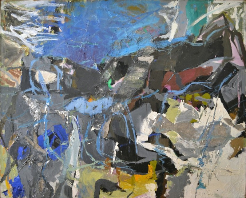 Perle Fine (1905–1988): Summer I, 1958-1959. Oil and collage on canvas, 57 x 70 inches (144.8 x 177.8 cm). McCormick Gallery, Chicago, Illinois, USA. © Perle Fine. Image: McCormick Gallery, Chicago, © AE Artworks, LLC.