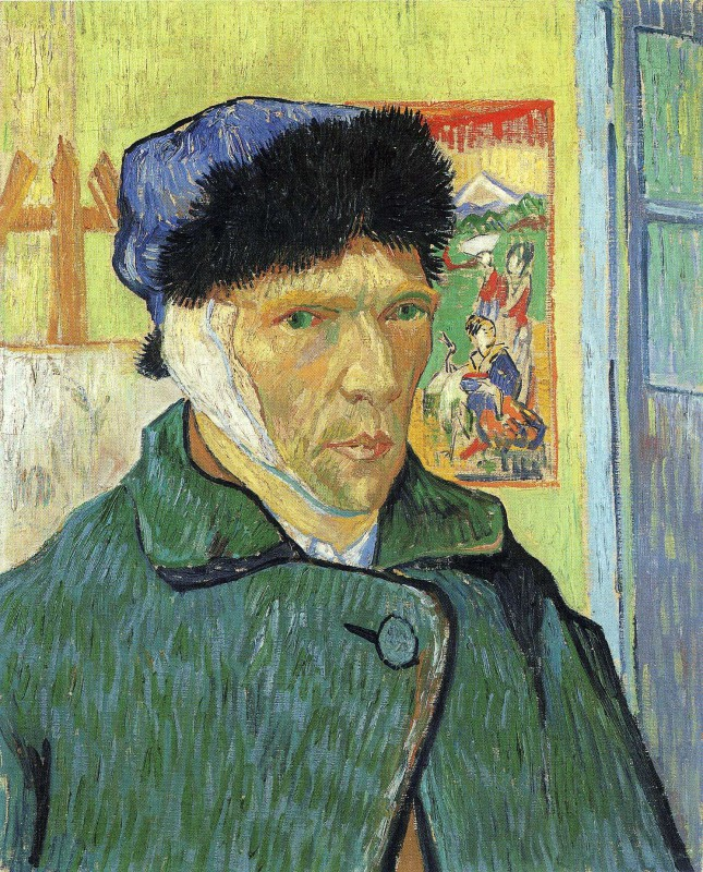 Vincent van Gogh (Dutch, Post-Impressionism, 1853-1890): Self-Portrait with Bandaged Ear, 1889. Oil on canvas, 60.5 x 50 cm. The Courtauld Gallery, London, UK.