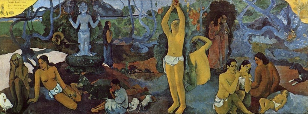 Paul Gauguin, (French, Post-Impressionism, 1848- May 8, 1903): Where Do We Come From? What Are We? Where Are We Going? (D'ou Venons Nous / Que Sommes Nous / Où Allons Nous), 1897-1898. Created in Punaauia, French Polynesia. Oil on canvas, 54-3/4 x 147-1/2 inches (139.1 x 374.6 cm). Museum of Fine Arts, Boston, Massachusetts, USA.
