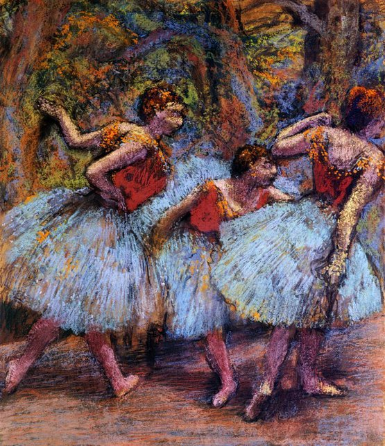 Three Dancers, Blue Skirts, Red Blouses