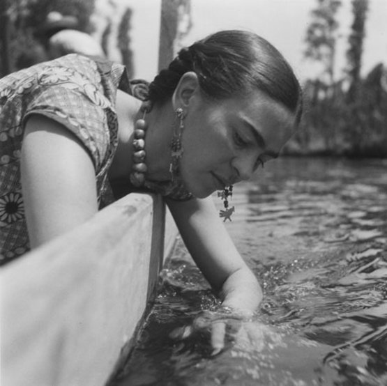Frida Kahlo at Xochimilco, Mexico