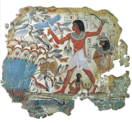 Nebamun Fowling in the Marshes, fragment of a scene from the tomb-chapel of Nebamun, Western Thebes, Egypt