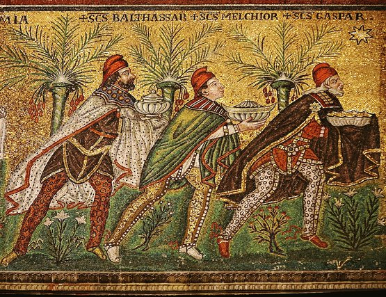The Three Wise Men (named Balthasar, Melchior, and Gaspar); detail from:
